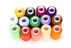 Spools multi-colored threads standing group Royalty Free Stock Image