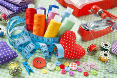 Free Spools Of Colorful Thread, Buttons, Fabrics, Measuring Tape, Pin Royalty Free Stock Photos - 43606218