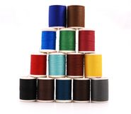 Spools Of Colour Threads Isolated On White Stock Images