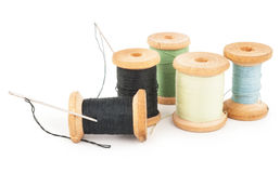 Spools Of Thread With Needle Royalty Free Stock Photos
