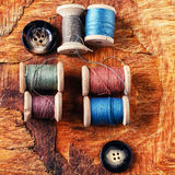 Spools of sewing threads Royalty Free Stock Photo