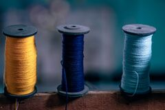 Spools with string Stock Photos