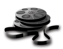 Spools with tape. 3 old spools with tape. Photo, video or audio tape Royalty Free Stock Image