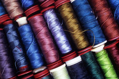 Spools of Thread. Many spools of thread in difference colors and types Stock Images