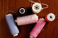 Spools of thread above view Stock Images