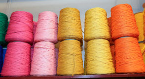Spools of thread and balls of wool for sale Royalty Free Stock Photos