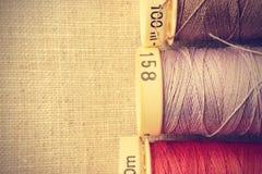 Spools of thread close up. stock photos