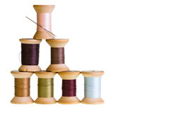 Spools of thread isolated on white Royalty Free Stock Photo