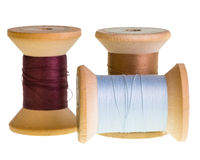 Spools of thread isolated on white Stock Photo