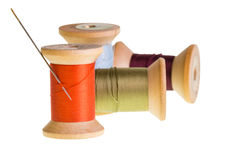 Spools of thread isolated on white Royalty Free Stock Photos