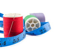 Spools of thread and meter Royalty Free Stock Photo