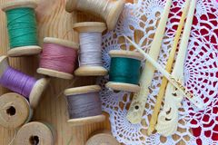 Spools of thread on a napkin stock image