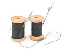 Spools of thread with needle Royalty Free Stock Photography