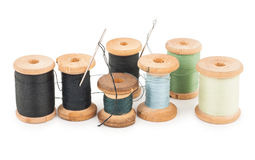 Spools of thread with needle Stock Image