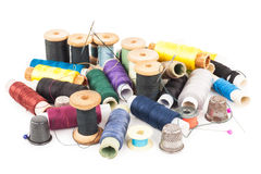 Spools of thread with needle Royalty Free Stock Images