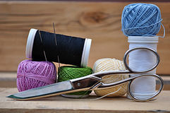 Spools of thread,scissors, Royalty Free Stock Images