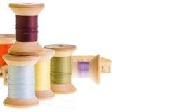 Spools of thread with tape measure Stock Photo