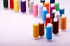 Spools of threads. Many multicolored spools of threads Royalty Free Stock Photos