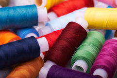 Spools of threads. Multicolored spools of threads background Royalty Free Stock Photography