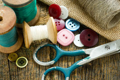 Spools of threads and buttons Royalty Free Stock Images