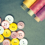 Spools of threads and buttons Stock Images