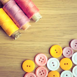 Spools of threads and buttons Stock Photography