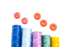 Spools of threads and buttons Royalty Free Stock Photo