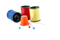 Spools of threads isolated over the white background Royalty Free Stock Photos