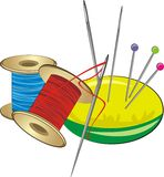 Spools with threads, needles and pillow with pins. Vector illustration Royalty Free Stock Image
