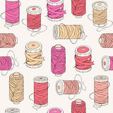 Spools of threads seamless pattern Royalty Free Stock Image