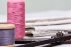 Spools with varicoloured threads Royalty Free Stock Images