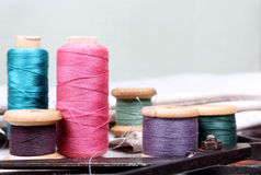 Spools with varicoloured threads Royalty Free Stock Photos