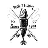 Spoon-bait fish with crossed fishing rods in engraving style. Logo for fishing or fishing shop on white.  royalty free illustration
