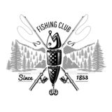 Spoon-bait fish with crossed fishing rods with landscape in engraving style. Logo for fishing or fishing. Shop on white vector illustration