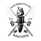 Spoon-bait fish with two hooks and crossed fishing rods in engraving style. Logo for fishing or fishing shop on white.  stock illustration