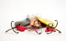 Spoon-bait. Spinning bait for fishing on white background Stock Image