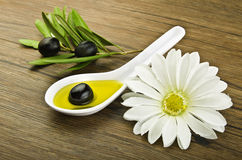 Spoon with black olive Stock Photography
