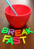 Spoon in bowl with breakfast Stock Images
