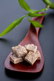 Spoon with brown sugar cubes Royalty Free Stock Photography