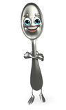 Spoon character is folding hand Stock Image