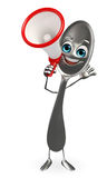 Spoon character with Loudspeaker Royalty Free Stock Image