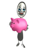 Spoon character with piggy bank Stock Photos