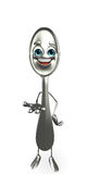 Spoon character is presenting Royalty Free Stock Photo