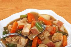 Spoon in chicken stew Stock Photography