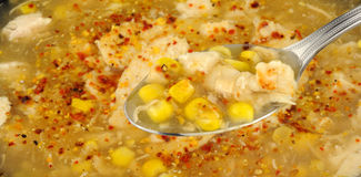Spoon With Chicken And Sweetcorn Soup Stock Image