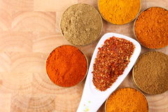 Spoon of chili flakes with spicy ingredients Royalty Free Stock Photo