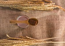 Spoon with chocolate bar placed on glass of chocolate malt milk. On sackcloth, top view Stock Photos