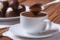 Spoon of chocolate being poured into a cup closeup Royalty Free Stock Photo