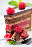 Spoon with chocolate cake and raspberries. Royalty Free Stock Images
