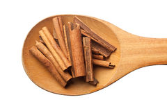 Spoon with cinnamon Royalty Free Stock Image